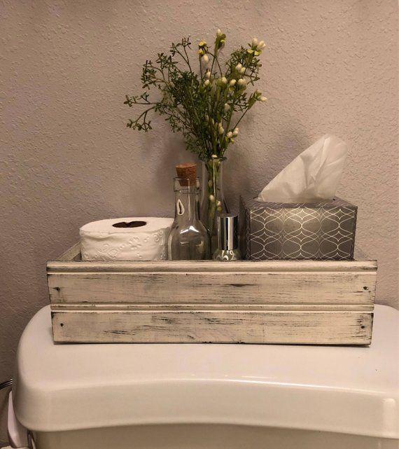 Gesegnet, Bauernhaus-Stil-Kiste, Bauernhaus-Dekor, Tafelaufsatz, Rückseite der Toilette, Einmachglas-Kiste, rustikale Holzkiste, französisches Land, W