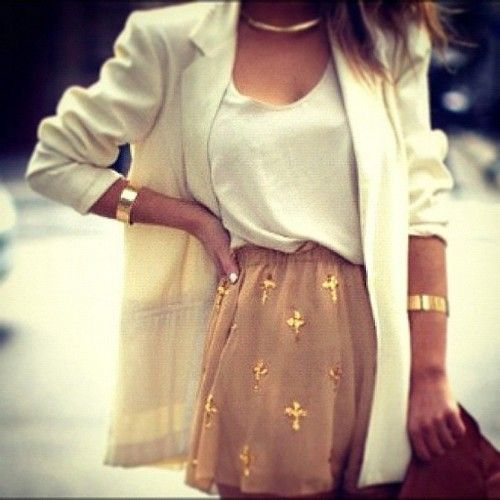 skirt: Cream Blazer, Fashion, Gold Cross, White Blazers, White Roses, Style, Cute Outfits, Gold Accents, Cross Skirt