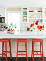 Love the orange stoolsDecor, Ideas, Orange Stools, Open Shelves, Barstools, S'Mores Bar, Bar Stools, Bright Colors, White Kitchens