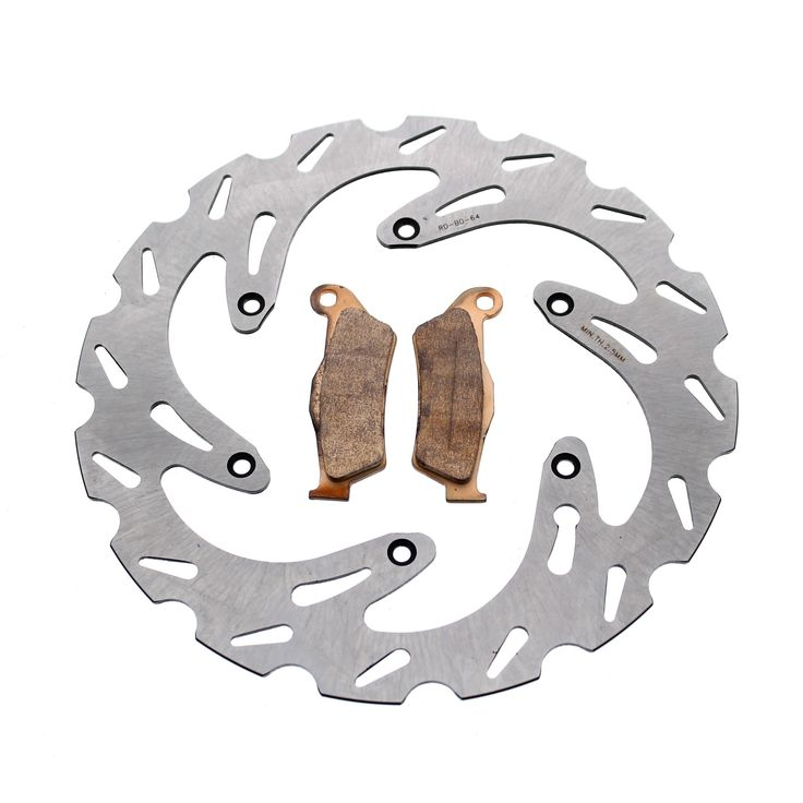 2010 - 2013 KTM 450 EXC Front RipTide Rotor Discs and Severe Duty Brake Pads, Silver stainless steel