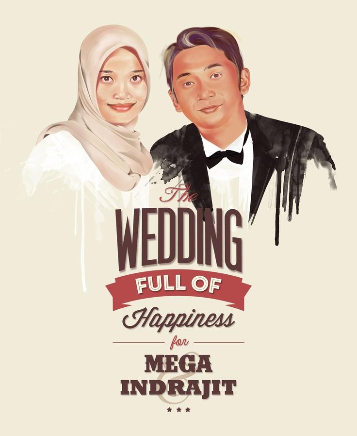 Illustration for wedding invitation my friend indrajid & mega