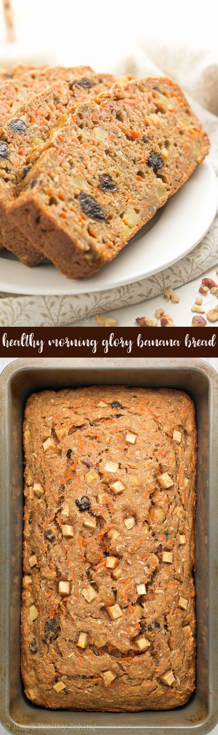 {HEALTHY!} Morning Glory Banana Bread -- only 135 calories! Naturally sweetened, really tender & so easy to make! It's perfect for quick on-the-go breakfasts & snacks. Completely kid-approved too! #healthy #breakfast #recipe #cleaneating