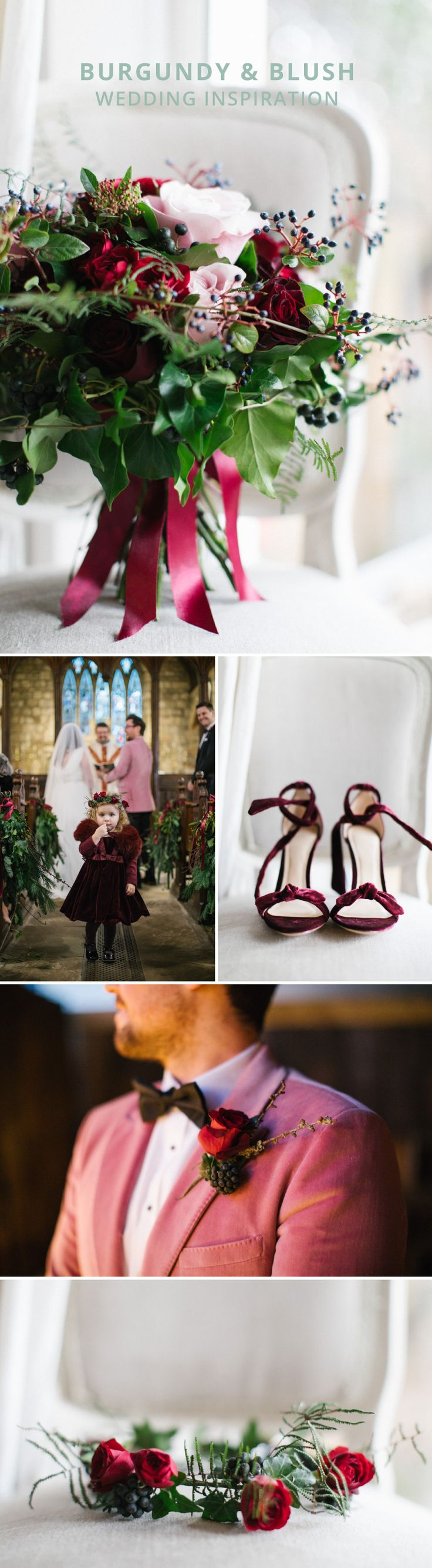 Burgundy and blush wedding inspiration | Marsala wedding colour theme | Burgundy wedding theme | Classy red wedding theme | Groom in pink jacket | Velvet wedding shoes | Cute flower girl | Winter wedding inspiration