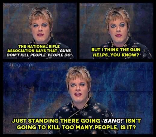 Making a Bang: Eddie Izzard on the National Rifle Association (NRA) #gun_control