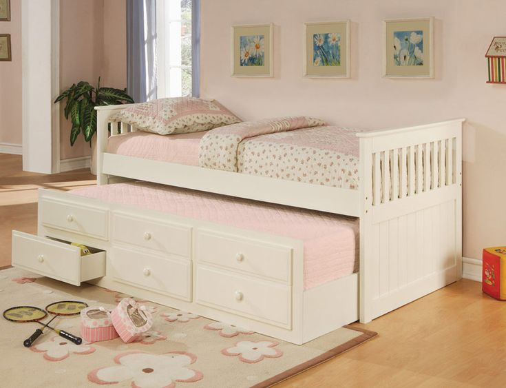 Perfect for the upcoming teen years, extra bed for guest and extra storage as well!: Twin, Idea, Girl, White, Kids, Daybeds, Bedroom, Trundle Bed
