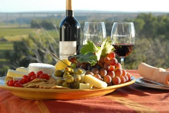 Vredendal, South Africa: A cheese and wine platter - wine from their own boutique wine cellar