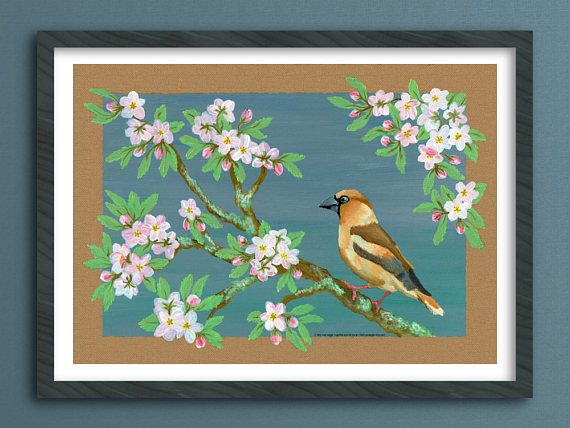 Vogel schilderij muurdecoratie printable kunst poster instant