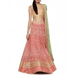 Onion Pink Lengha with Resham Embroidery
