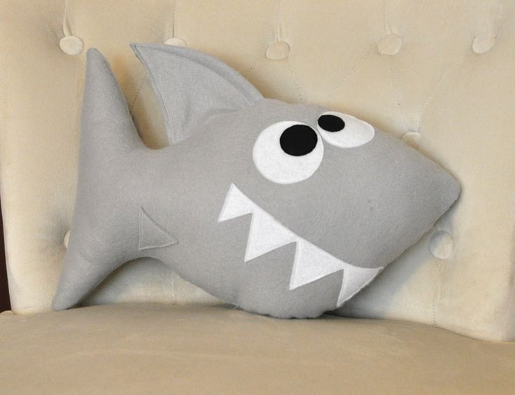 Shark Plush Pillow -Chomp the Shark Plush Pillow- NEW BEDBUGGS DESIGN. $26.00, via Etsy.