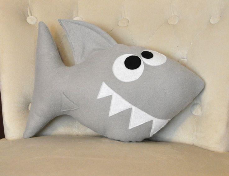 Shark Plush Pillow -Chomp the Shark Plush Pillow- NEW BEDBUGGS DESIGN. $26.00, via Etsy.