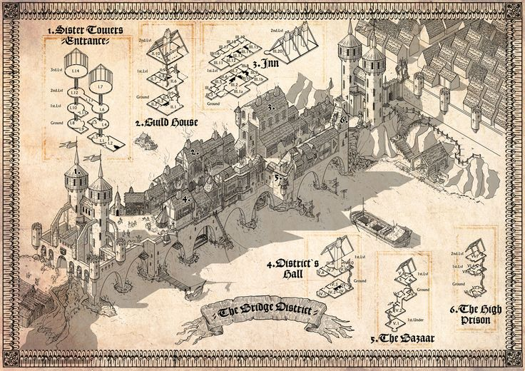 Ridiculously detailed map of a district on a bridge. Illustrated by Dain, over on the Cartographers' Guild. Inspired by the Rialto Bridge.