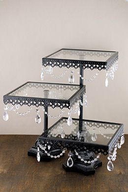 Pedestal Cake Stands Black (Set of 3) I would honestly make these decorative and put flowers on them instead of cakes!