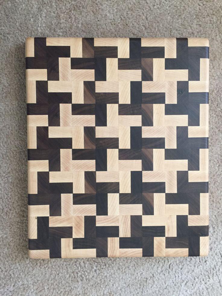 Handmade Butcher Block Cross Design End Grain by Legalwoodworks