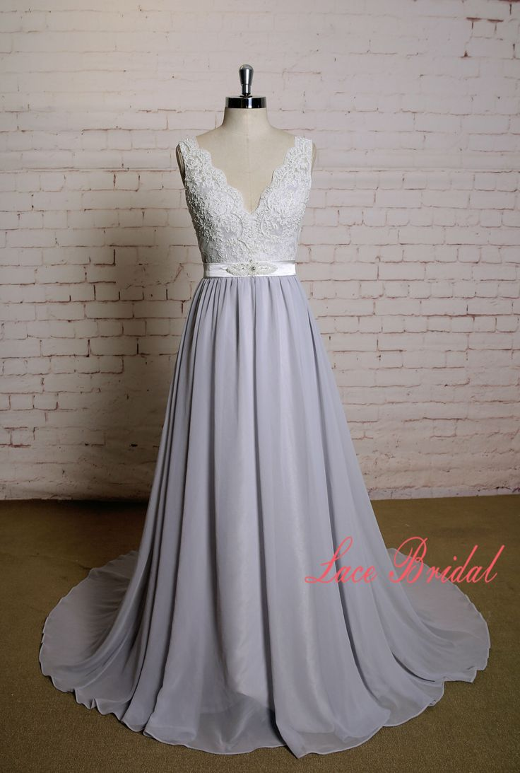 Special Grey Underlay Wedding Dress with V Neckline Chiffon Skirt A-line Bridal Gown with V-back Beading Lace Bodice Wedding Dress with Belt by LaceBridal on Etsy https://www.etsy.com/uk/listing/467818841/special-grey-underlay-wedding-dress-with
