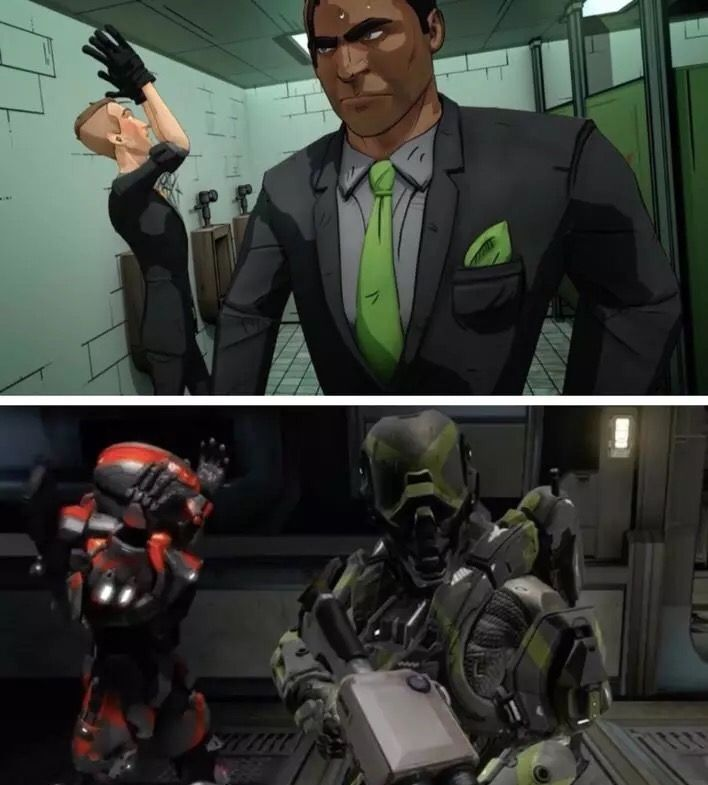 RVB. Season 14 Locus an Felix. I just loved this arc and Felix and locus designs.