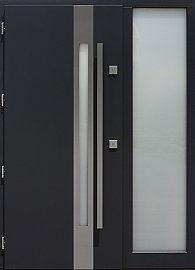 Drzwi zewnętrzne z doświetlem dostawką boczną model  454,2 w kolorze antracyt