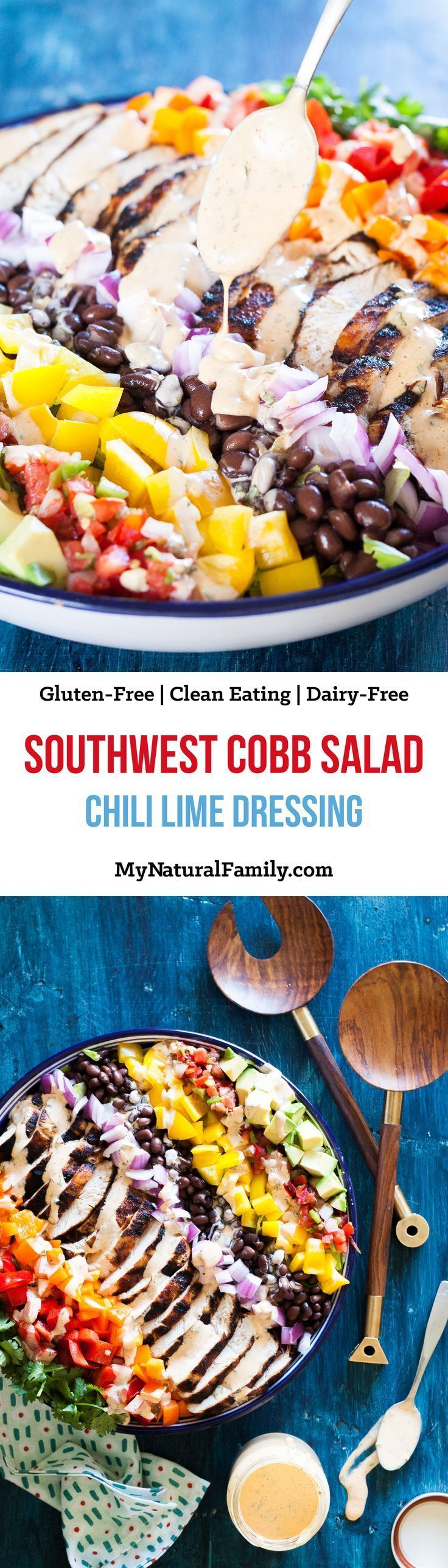 Southwest Cobb Salad with Smokey Chili Lime Dressing Recipe {Paleo, Gluten-Free, Clean Eating, Dairy-Free, Whole30}