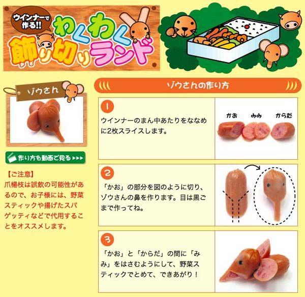 How to make a sausage elephant for a bento box. So cute!