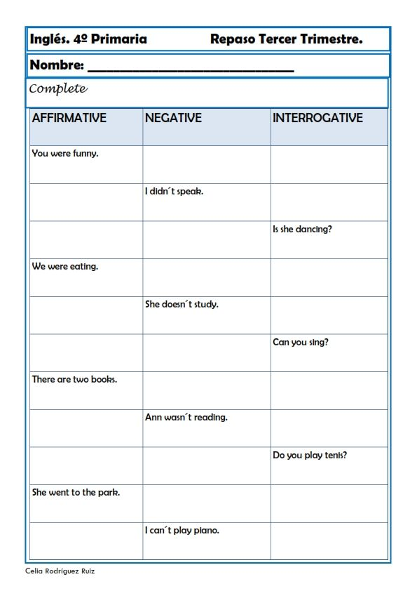 Fichas inglés cuarto primaria. Niños de 9-10 años | English | Inglés ...