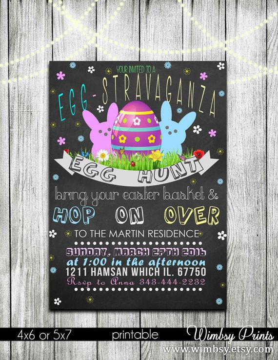 chalkboard easter invitation Egg hunt easter invitation by Wimbsy