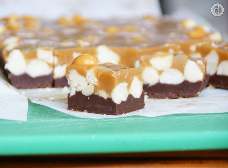 Gluten free Mocha Macadamia slice -  a delicious concoction of Caramel, chocolate and nuts