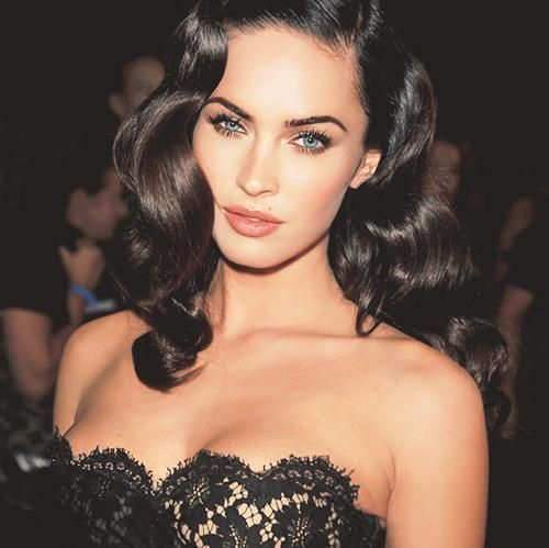 glam curls on Megan Fox