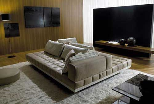 Not exactly the look I'd want, but I love the idea of a double sided couch for a large space.