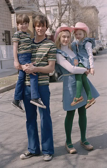 """Actors Jim Carrey and Kate Winslet pose with their child actor doppelgangers for the 2004 Michel Gondry film """"Eternal Sunshine Of The Spotless Mind"""""""
