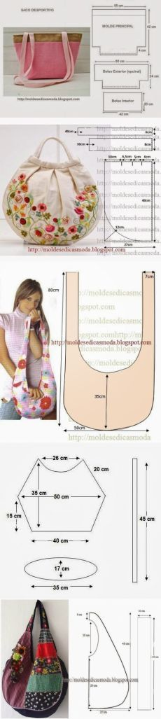 Interesant geantă de mână cu modele.