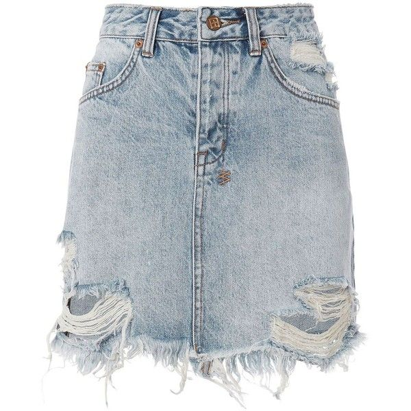 Ksubi Women's Mini Moss Distressed Denim Skirt (690 RON) ❤ liked on Polyvore featuring skirts, mini skirts, denim, short skirts, distressed skirt, ksubi, blue skirt and short blue skirt
