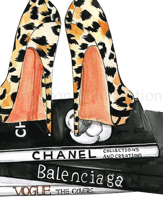 Dit is een mode illustratie afdruk van mijn originele aquarel illustratie van een paar sexy leopard hakken en luxe koffietafel boeken: Chanel en Balenciaga. Deze manier van afdrukken kunnen perfect voor uw kantoor aan huis muur, kast of badkamer.  Eigen als een modieuze iPhonegeval Klik hier, https://www.etsy.com/listing/241250074/fashionista-iphone-case-iphone-6-case?ref=shop_home_active_4  De overige opties en maten beschikbaar ♥ ♥ Als u wilt dat om een aangepast formaat, kunt u contact…