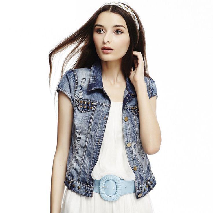 Denim Jean Vest For Women 2017 Runway Women Fashion Vest Outwear Streetwear Buttons Pockets Punk Vest short coat