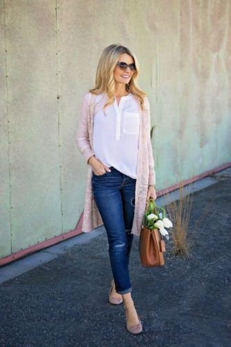long pink cardigan outfit- New outfit ideas to try this season http://www.justtrendygirls.com/new-outfit-ideas-to-try-this-season/