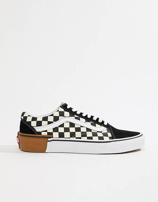 Vans – Old Skool – Schwarze Sneaker mit Schachbrettmuster