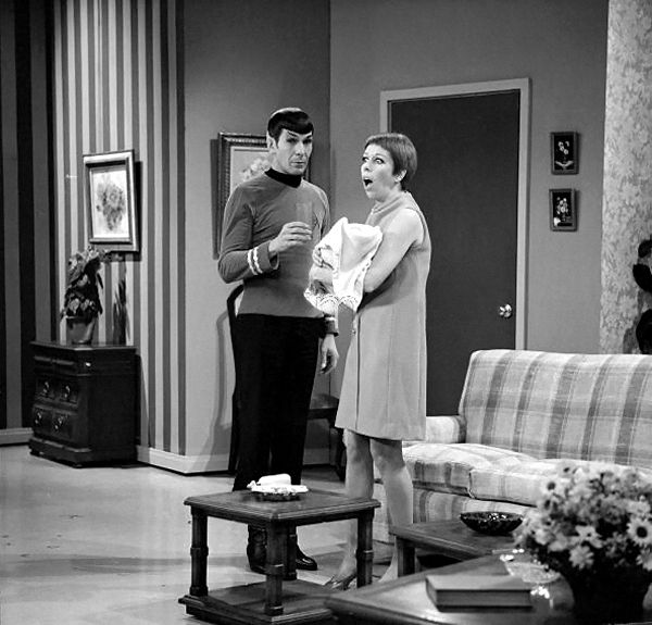 Spock makes a guest appearance on The Carroll Burnett Show, 1967