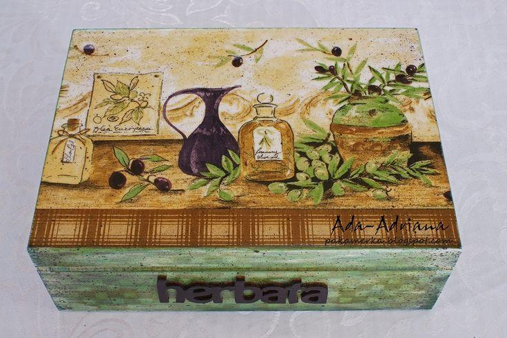 decoupage, hand made, rękodzieło, pudełko, pudełka, na herbatę, na urodziny, prezent, oliwki, zielony, green