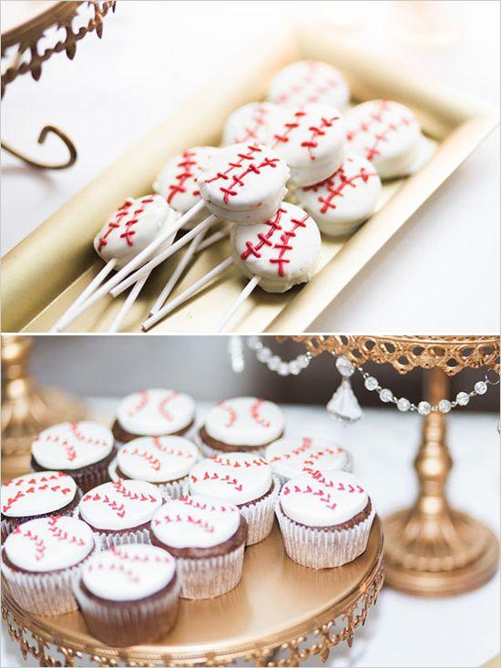 Treats for the groom: Baseball cupcakes and baseball cake pops.