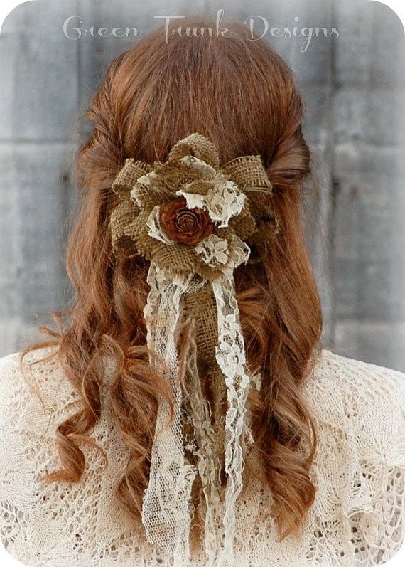 Rustic Burlap Flower Wedding Veil Hair by GreenTrunkDesigns, $50.00
