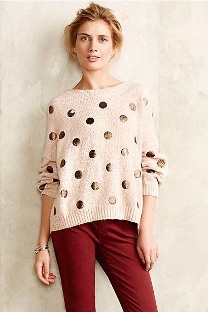 shimmering spots polka dot pullover sweater #anthrofave