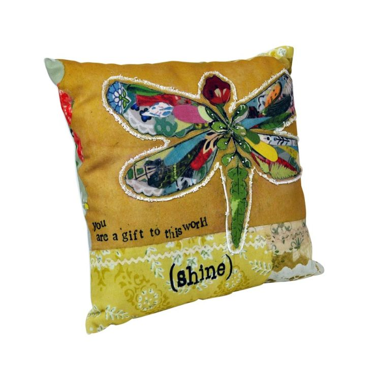 Canvas & Polyester Appliqued Pillow - Dragonfly $74 AUD - Pillow Size: approx. 39 cm x 39 cm #Vintage #Retro #FrenchProvincial