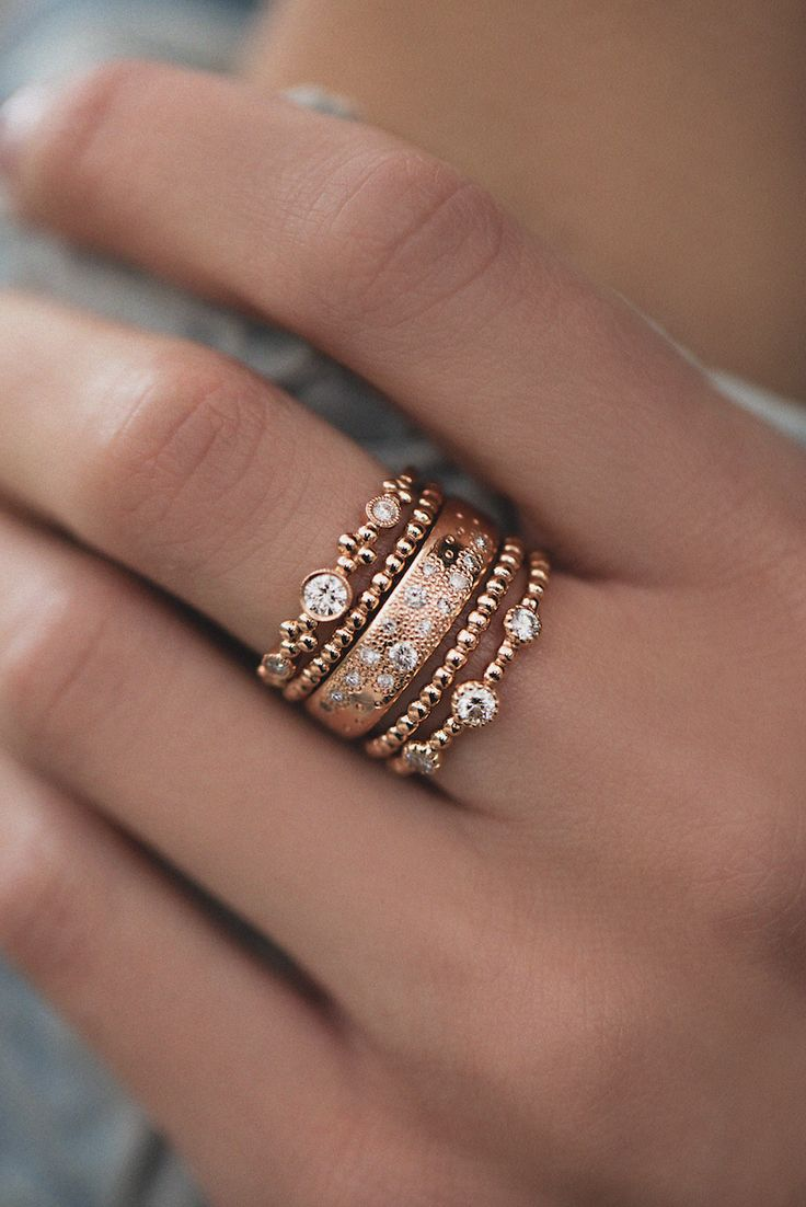 14kt gold and diamond Cosmo Constellation band *Band width: 5mm *Total diamond weight: .26-.30ct Seen stacked with 14kt gold and diamond Queen of Cosmos Constellation band ** Inspired by the pattern o