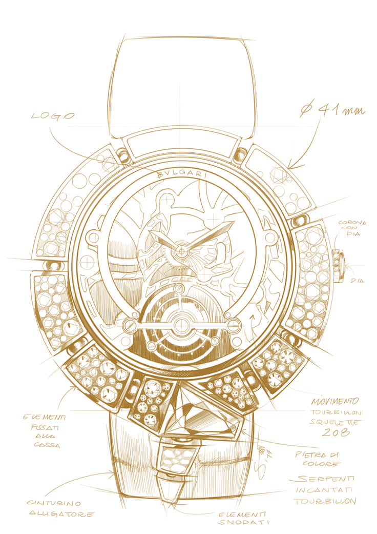A preliminary sketch of the Bulgari Serpenti Incantati Tourbillon Lumière Skeleton watch. The Bulgari Serpenti is a fashion icon worn by many, and has been reinvented by Bulgari  once again this year. Discover the many faces of the womens watch: http://www.thejewelleryeditor.com/watches/bulgari-serpenti-incantati-snake-watches-for-women/ #watches #style