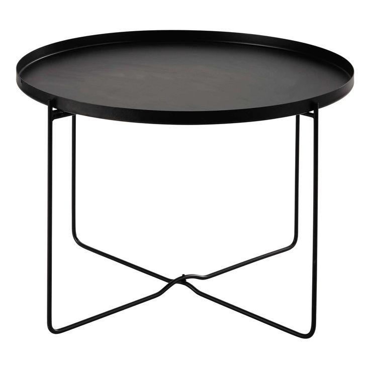 Metalen bijzettafel, zwart, diameter 71 cm, CAMERON | Maisons du Monde