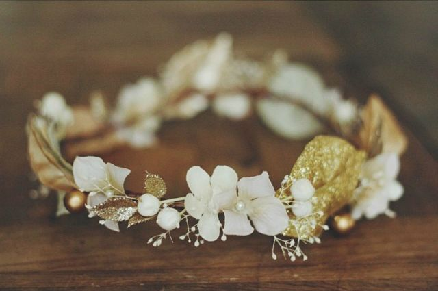 Gold and Ivory floral crown created by Love Sparkle Pretty