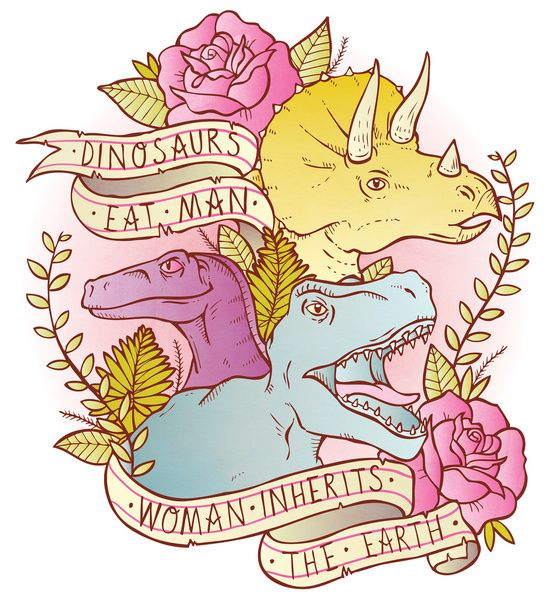 Jurassic Park Dinosaurs Eat Man Women Inherit The Earth Art Print...also available as a t shirt!