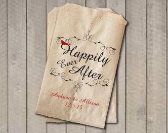Hiver rustique Wedding Favor sacs, ils vécurent Favor, personnalisé mariage Candy sacs, sacs de Candy Buffet mariage conte de fées