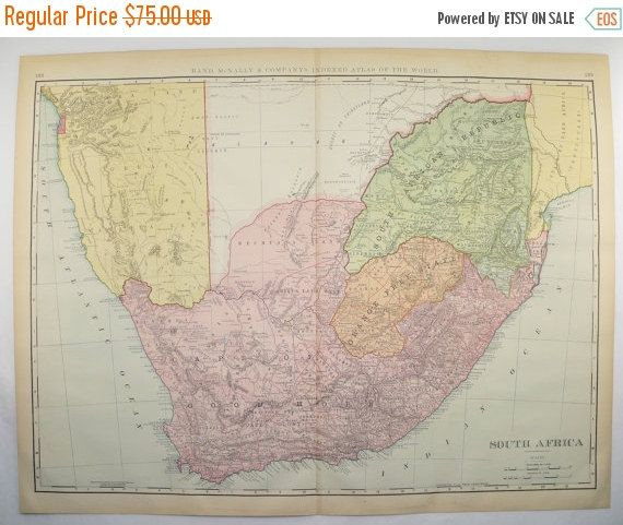 South Africa Map, Large Map, Cape Colony 1899 African Decor Gift for Couple, Vintage Map, New Home Gift, Office Art Gift for Coworker available from OldMapsandPrints.Etsy.com #SouthAfricaMap #CapeColony #Africa