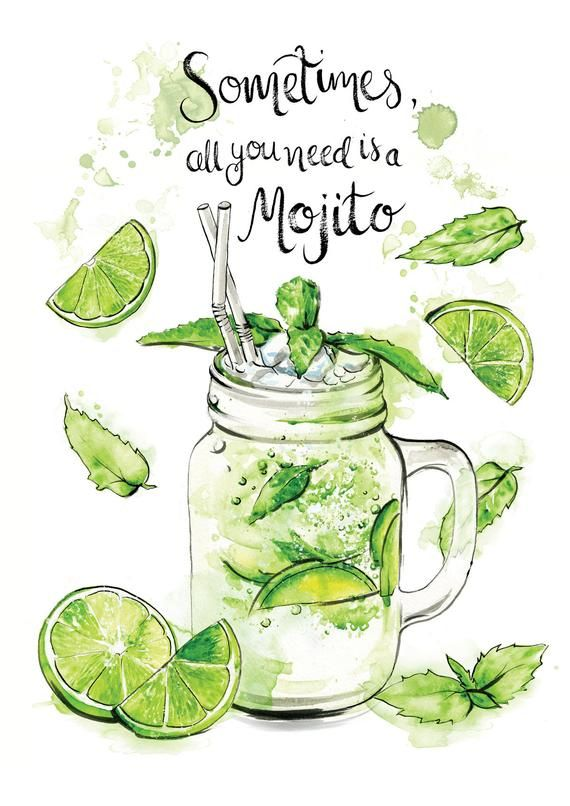 Calligraphy Mojito cocktail watercolour painting slogan quote gift illustration stocking filler drinks wall art print A4 A3 A2 ANY SIZE