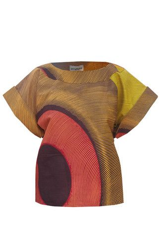 African Print Box Top - Brown