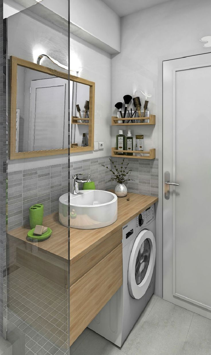 32 Best Small Bathroom Design Ideas And Decorations For 2020: 32 Inexpensive Tiny Laundry Room Design Ideas